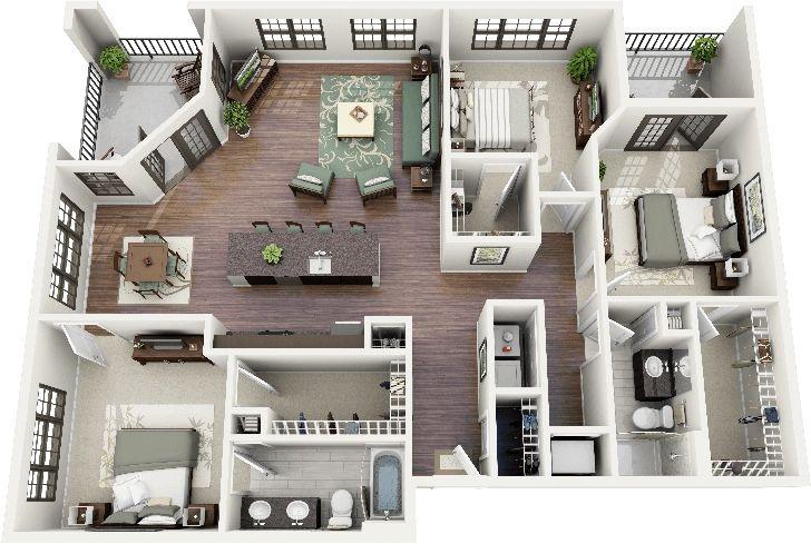 Vamos a ver la distribución de ambientes en planos de departamentos de tres habitaciones que han sido generadas en 3D para una mejor visualización, consigue el modelo ideal para remodelar o constru…