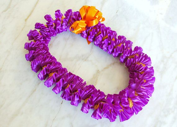 Purple and Old Gold Plumeria Ribbon Lei  Graduation by TheLeiStand, $55.00