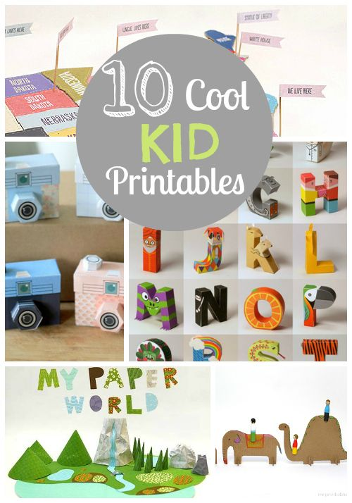 10 cool interactive kid printables -- Get out your scissors and glue sticks for free fun. Love the US map!