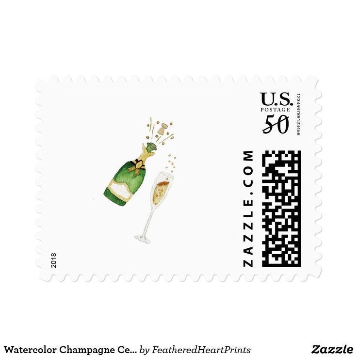Watercolor Champagne Celebration Postage Stamps
