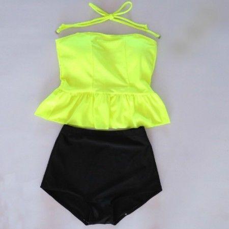 High Waisted Peplum Tankini Neon Yellow/Black