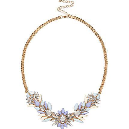 Pale blue gem stone statement necklace #riverisland