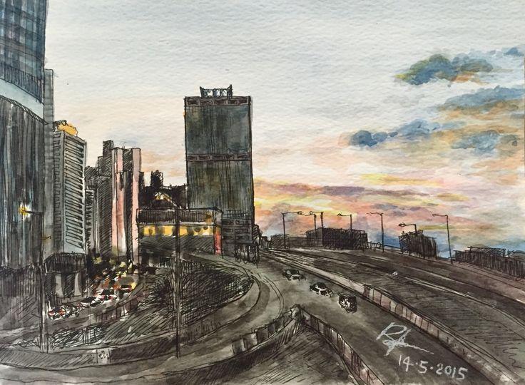 Sunset @Hong Kong IFC  Water color & Pen
