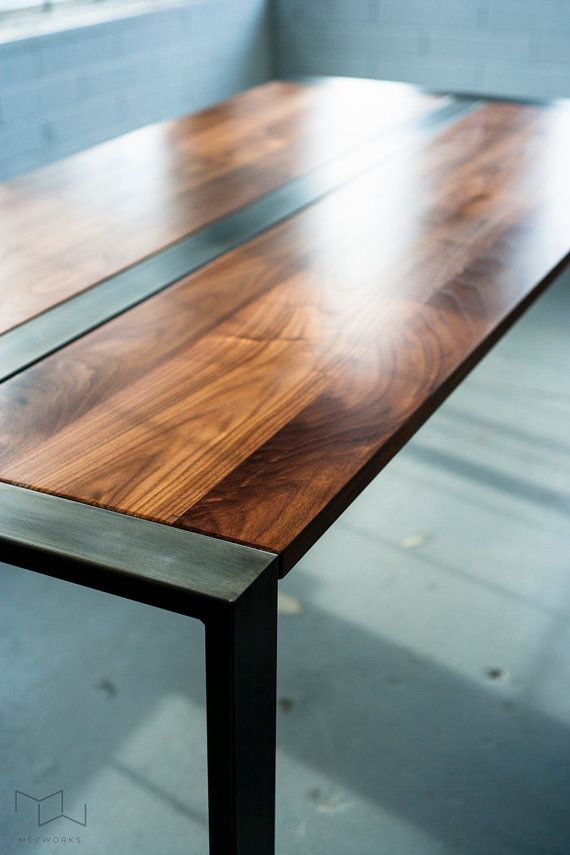 Walnut Desk or Dining Table, Steel Frame, Custom, 'Zeeva' Series