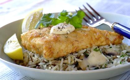 Garlic and Herb Crumbed Hake With Savoury Rice recipe