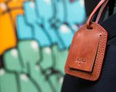Brown Leather Luggage Tag