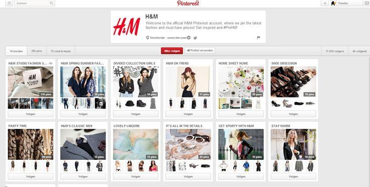H&M pint op zijn officiële Pinterestpagina alle nieuwe collecties. Deze collecties zijn allemaal gerangschikt in verschillende boards volgens seizoen en soort product (bv schoenen in het board 'shoe obsession').  #hm #pinterest #communicatie