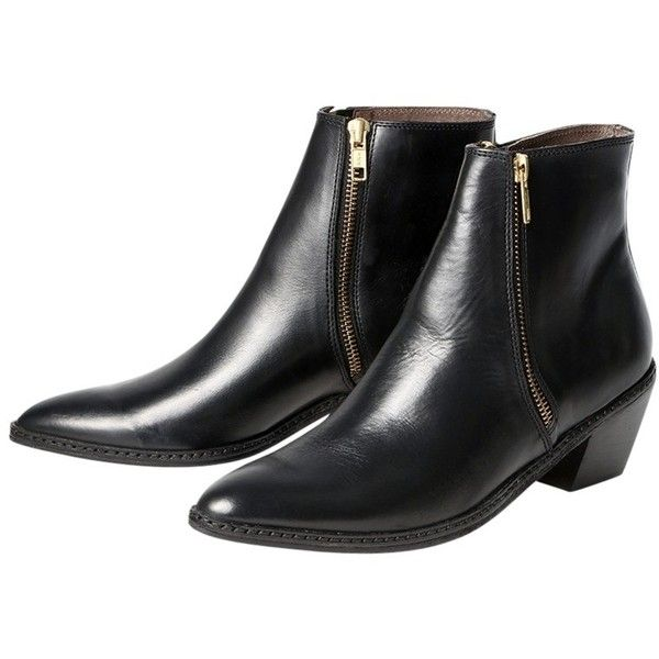H by Hudson Azi Leather Pointed Ankle Boots, Black ($205) ❤ liked on Polyvore featuring shoes, boots, ankle booties, leather boots, pointed toe booties, black leather boots, flat booties and flat boots