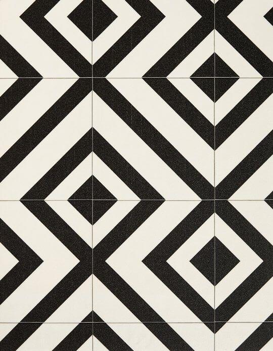 Sol vinyle BUBBLEGUM, carreau ciment motif géométrique noir, rouleau 4 m | Saint Maclou