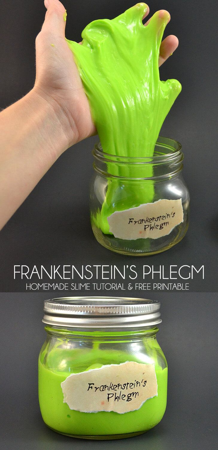 Ew! Frankenstein's phlegm! Super cute with the mad scientist-like label! Free printable and no fail slime recipe.