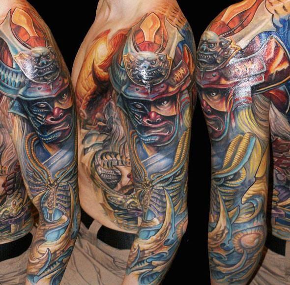 Japanese Warrior Tattoo by Csaba Kolozsvari - http://worldtattoosgallery.com/japanese-warrior-tattoo-by-csaba-kolozsvari/