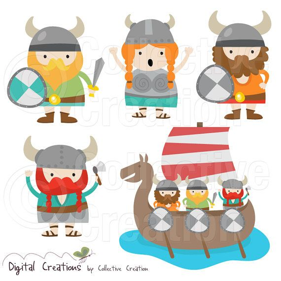 Little Vikings Digital Clip Art Clipart Set - Personal and Commercial Use
