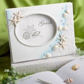 Guestbook con perle e cornice tema #mare