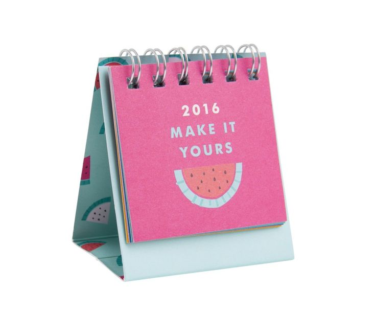 Brighten your days with this mini 2016 Desk Calendar with fruity illustrations