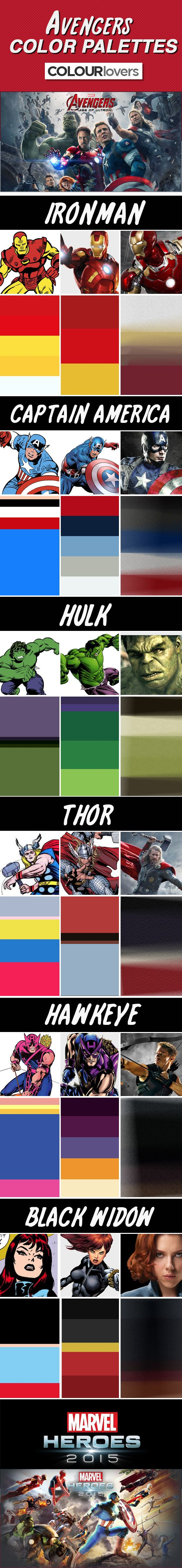 Web Blog / Marvel's Avengers 2 - Character Color Palettes [ Infographic ] by COLOURlovers :: COLOURlovers