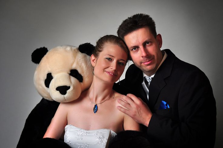 bride and groom and the bear