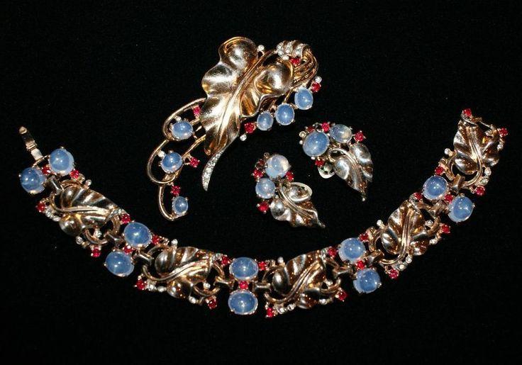 Trifari Sterling Moonstone Bracelet Fur Clip Pin Earrings Set 1940's