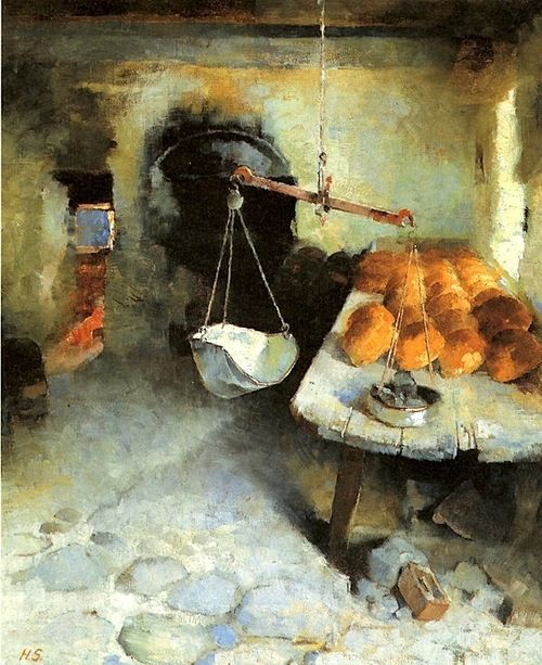 The Bakery 1887 oil on canvas -Helene Schjerfbeck