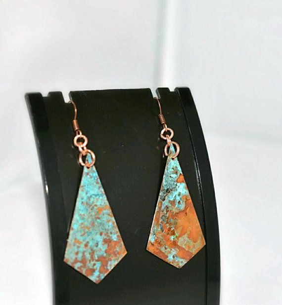 Turquoise earrings, patina earrings, copper earrings, copper jewelry, verdigris…