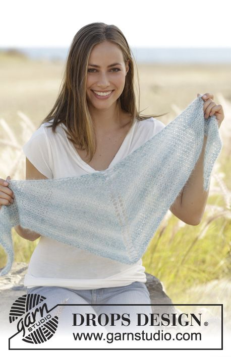 Shawl in garter stitch, worked top down in 2 strand DROPS Kid-Silk. Free pattern by DROPS Design.