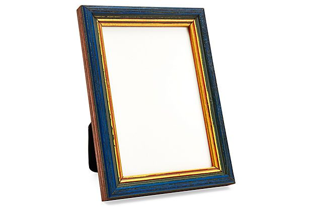 Wooden Frame, 4x6, Blue/Gold on OneKingsLane.com