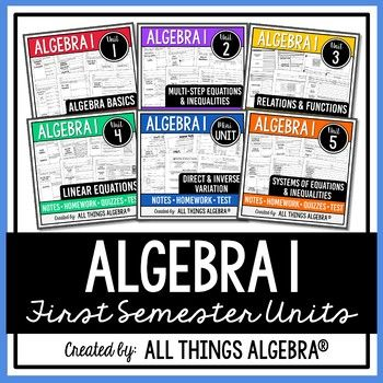Algebra 1 (First Semester) - Notes, Homework, Quizzes, Tests: All assessments come in an editable format so you can easily make multiple versions or customize to fit your needs! PowerPoint and Equation Editor (usually built in to PowerPoint) are required to edit these files. If your Equation Editor is incompatible with mine, simply delete my equation and insert your own.