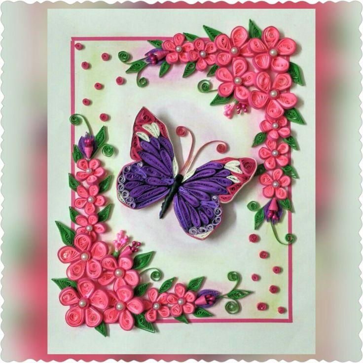 Днем рождения, открытки с бабочками квиллинг