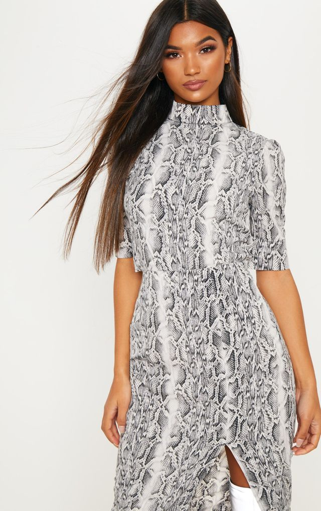 2827438eef Grey Snake Printed High Neck Short Sleeve Crop Top