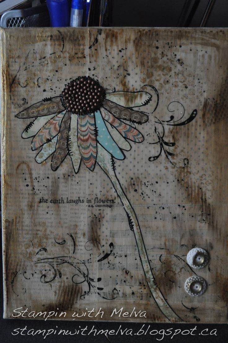 Cone Flower Mixed Media