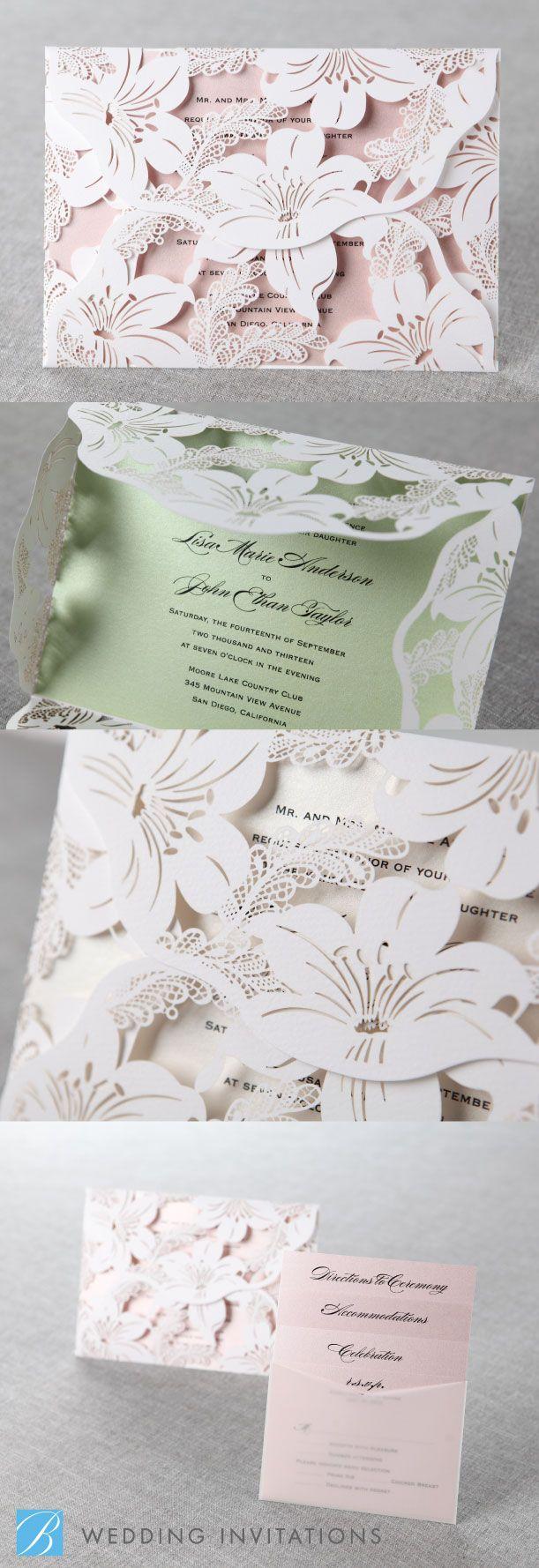 Stunning Lily Blossoms Laser Cut Wrap by B Wedding Invitations #lasercut #invitation.
