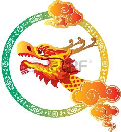 Cabeza del dragón chino con diseño del arte ilustración de la frontera Foto de archivo