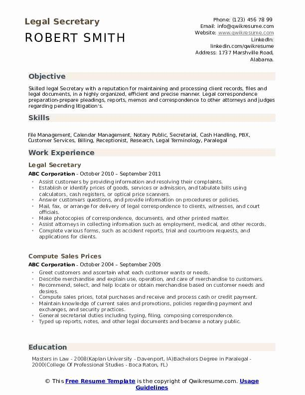 Paralegal Job Description Resume Inspirational Legal Secretary Resume Samples In 2020 Teacher Resume Education Resume Teacher Resume Template