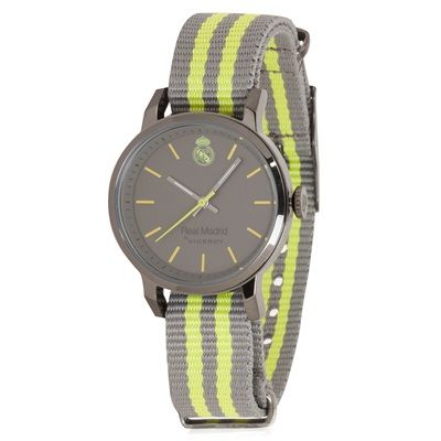 Image of Real Madrid Fashion Stripe Watch - Grey-Yellow