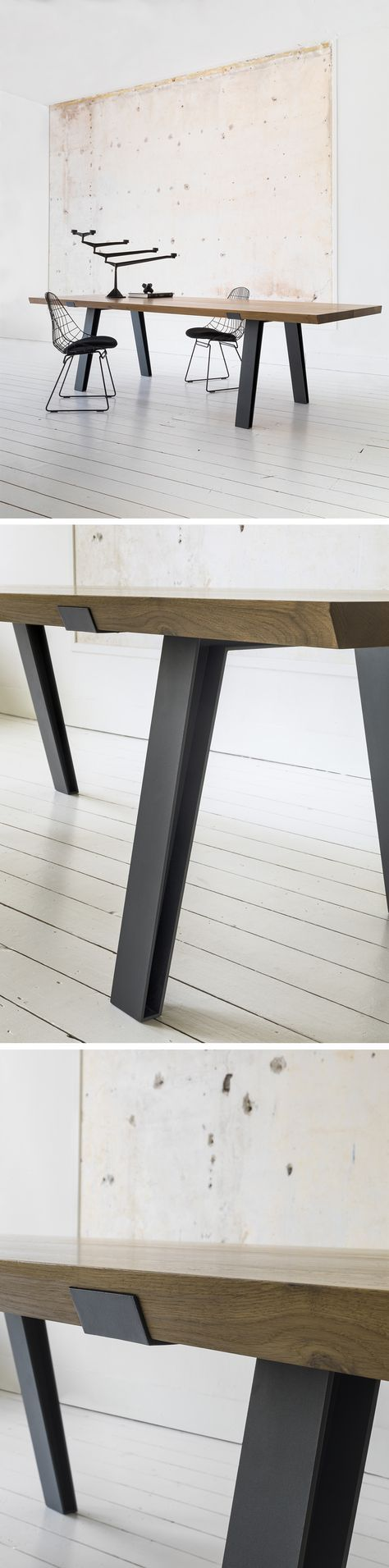 Qliv | Side-to-Side | Dining table A tabletop of solid French oak consisting of two halves lengthwise. Their exterior sides are milled to be seamlessly engaged by a bold steel frame created using special laser-cut technology. ( can be customize )