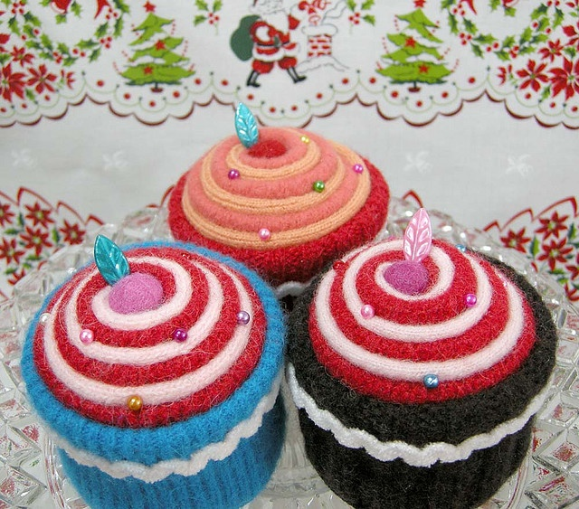 Cupcake Pincushions made from recycled and felted sweaters.