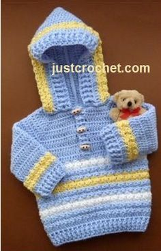 Free baby crochet pattern for toggled hoodie http://www.justcrochet.com/hoodie-usa.html #freebabycrochetpatterns #patternsforcrochet