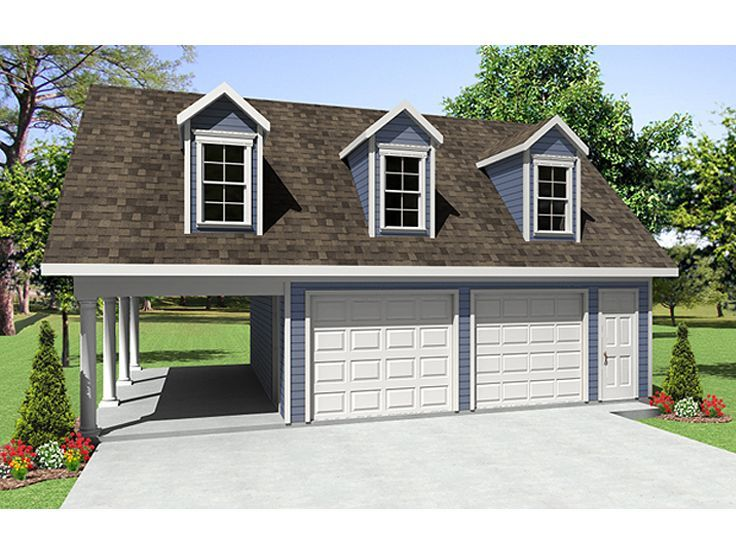 001g 0003 2 car garage plan with carport and loft · garage apartment plansgarage apartmentsgarage apartment