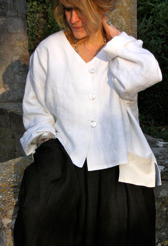 Dublin Shirt over Pleated Pocket Skirt in linen.