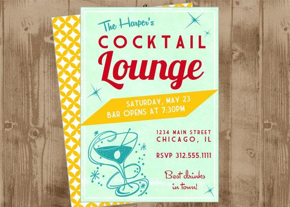 Retro Cocktail Lounge party Printable Invite -  martini - red Aqua - yellow - mid century modern - mod
