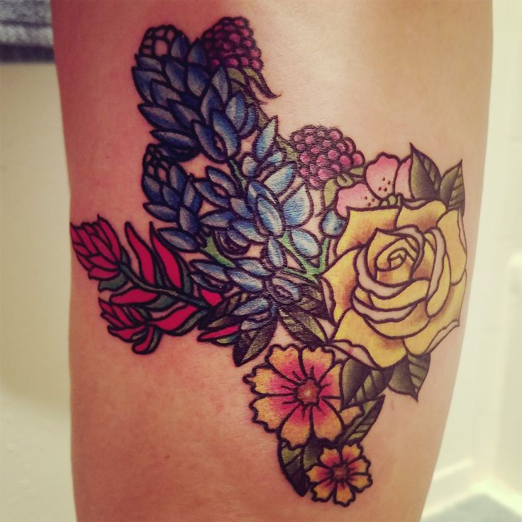 My texas flower tattoo. My design, done by DJ at Superchango tattoos in Spring TX.