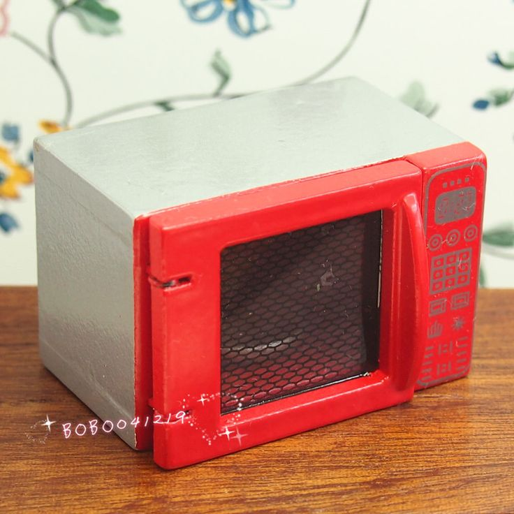 Dollhouse Miniature 1:12 Toy A Wooden Red Microwave Oven L5cm BL2161R
