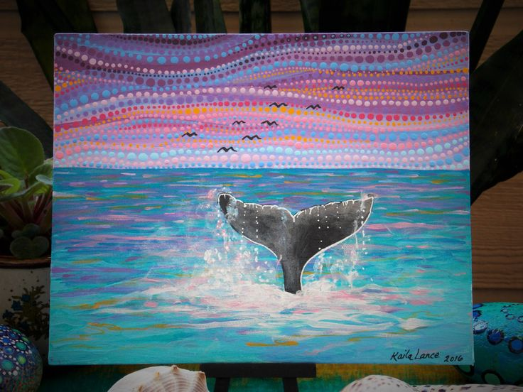 Whale Tail Dot Painting,8x10 on Canvas Board, Acrylic, Birds in Flight, Ocean Sunrise/Sunset Painting by KailasCanvas on Etsy