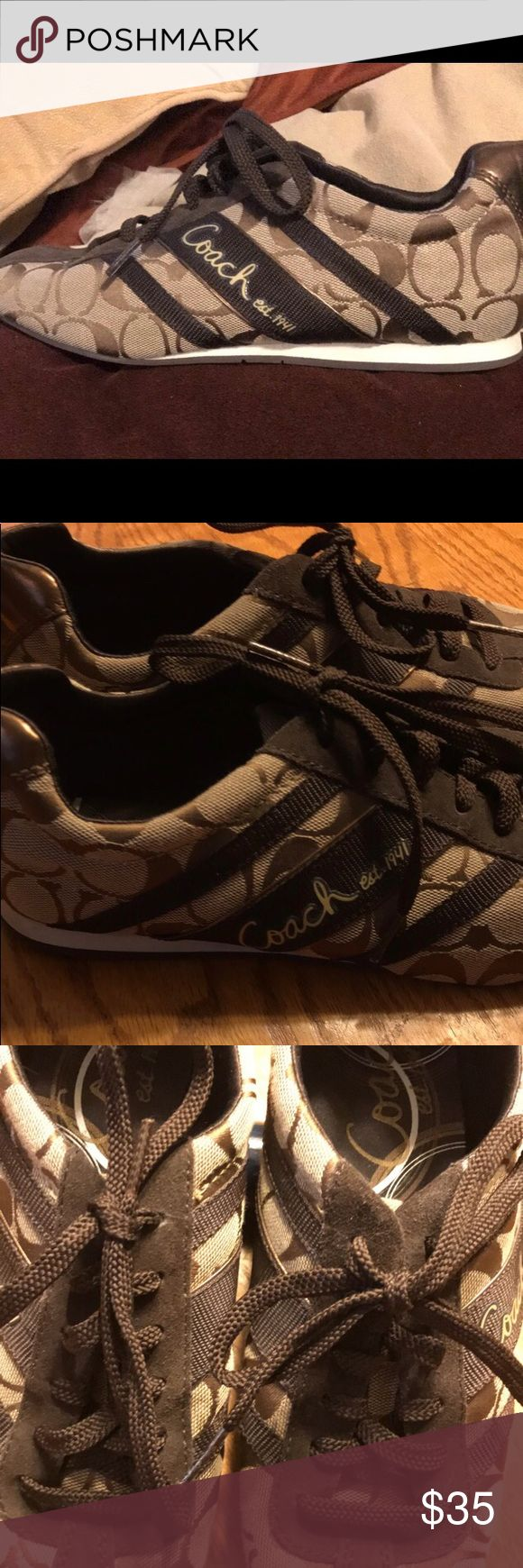 Signature jacquard Coach Tennis Shoes It's used coach Tennis Shoes And very good condition just worn a few time and size 8.5 Coach Shoes Sneakers