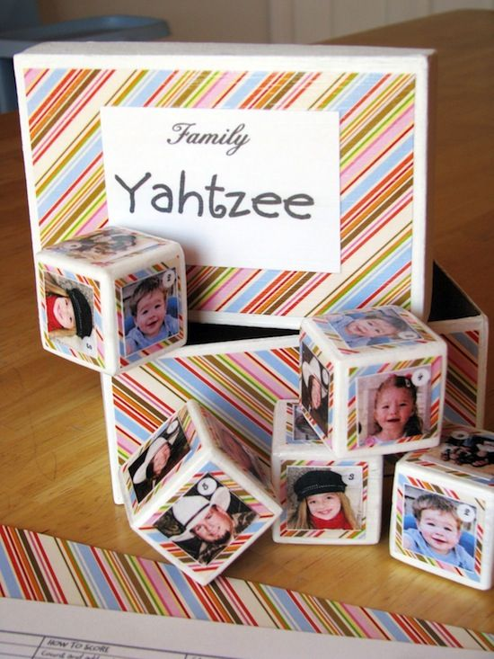 Make a personalized DIY Yahtzee game using family photos. This game makes a great gift, and is easy to make with Mod Podge! via @modpodgerocks