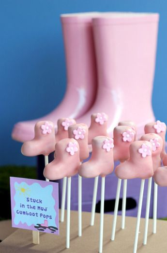 Gumboot cake pops for jumping up and down in muddy puddles!