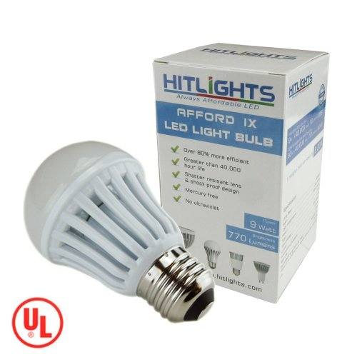 HitLights AffordIX 9W Cool White LED Bulbs, 770 Lumen, Replacement for 60 Watt, UL Listed at http://suliaszone.com/hitlights-affordix-9w-cool-white-led-bulbs-770-lumen-replacement-for-60-watt-ul-listed/