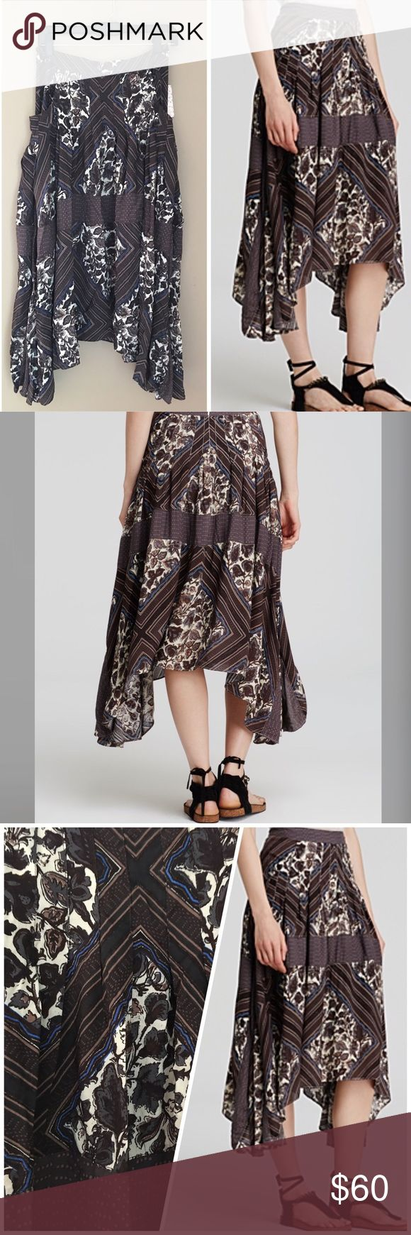 """Bohemian asymmetrical skirt Stripes, microdots and hand-drawn flowers define the pattern-blocked design of a pleated midi skirt cut with a drapey handkerchief hem. - Banded waist - Hidden back zip closure - Allover print - Side pockets - Pleated construction - Handkerchief hem. Back zipper  - Approx. 28"""" shortest length, 36"""" longest length. Waist 30"""" Free People Skirts Asymmetrical"""