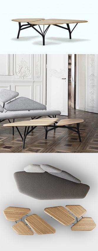 Borghese est une table basse dont le dessin a été inspiré par les pins parasols des jardins de la villa Borghèse à Rome. Découvrez Lachance-Borghese de Jean-Baptiste Souletie et Louise Breguet au Carré Orange de la Paris Design Week.