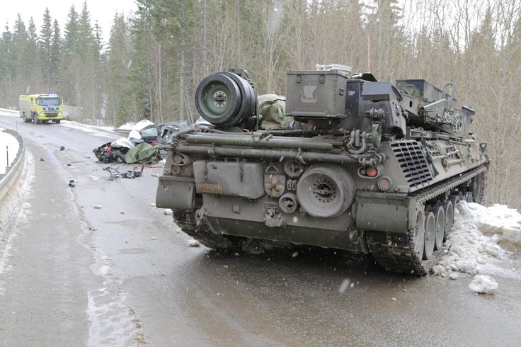 Aftermath of Norwegian Army armored recovery vehicle colliding with a civilian car during Cold Response 2016 [2804 x 1870