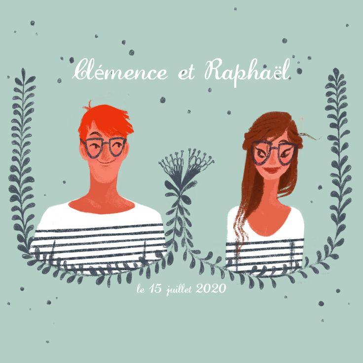Agnes YVAN illustration  Faire part mariage